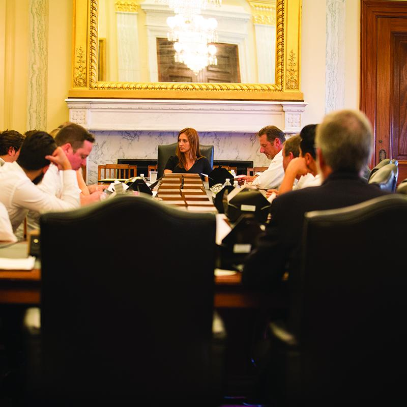 group of adults sitting around a table in a fancy room talking business